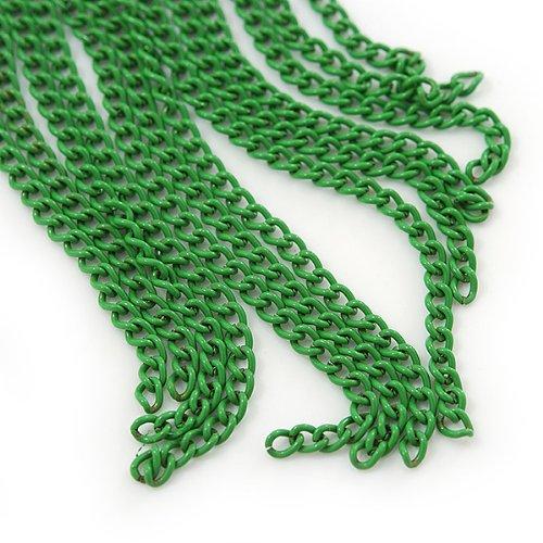 Boucles d'oreilles cercle plaqué or avec chaînes vertes