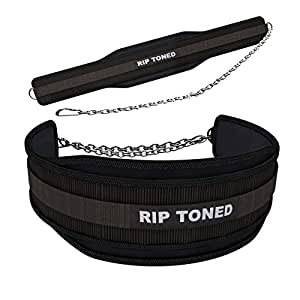 "Rip Toned Dip Belt - 6"" Weight Lifting Pull Up Belt with 32"" Heavy Duty Steel Chain & Bonus Ebook - for Powerlifting, Xfit, Bodybuilding, Strength & Training - Lifetime Replacement Warranty"