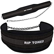"Rip Toned Dip Belt By 6"" Weight Lifting Pull Up Belt With 32"" Heavy Duty Steel Chain & Bonus Ebook - For Powerlifting, Xfit, Bodybuilding, Strength & Training - Lifetime Replacement Warranty"