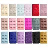 Women Bra Extenders, 18 PCS Brassiere Extension Hooks Assorted Color 3 Rows 2 Hooks Style Women Lingerie Bra Accessories