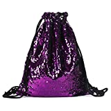 Artone Mermaid Sequin Drawstring Backpack Glittering Outdoor Sports Daypack Bling Shining Bag Purple