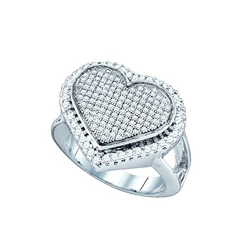 Jewels By Lux Sterling Silver Womens Round Diamond Heart Cluster Ring 3/4 Cttw Ring Size 7.5
