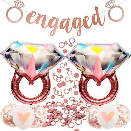 Engagement Party Decorations-Rose Gold Diamond Wedding Ring Balloons,Extra-Large Engaged Banner and 200 pcs Glittering Ring Confetti Set for Engagement Bachelorette and Bridal Shower Decorations