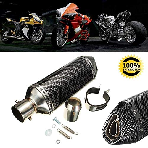 Qlhshop Universal 1.5-2'' Motorcycle Inlet Exhaust Muffler Pipe with Removable DB Killer for Street/Sport Motorcycles and Scooters with 38-51mm Diameter Exhaust Pipes (Black) by Qlhshop (Image #6)