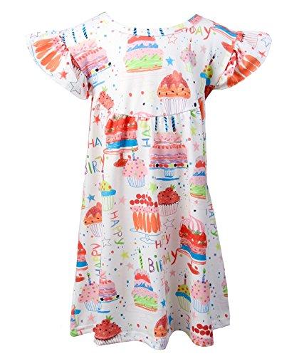 Girl Dress Cupcake Birthday (7 Sisters Clothing Baby Toddler Girls Birthday Print Dress Pink Flutter Sleeve Ruffle Pearl Tunic Top (24m/2))