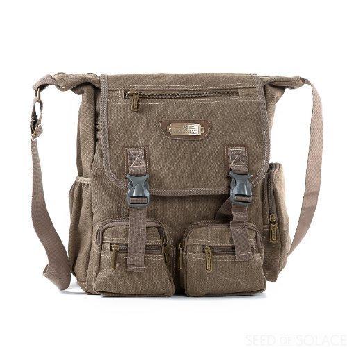 SOS Canvas Biker Messenger Shoulder Bag for Work and School - Sierra