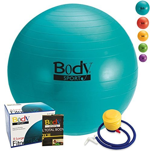 Exercise Ball With Pump (Teal 85cm) - by BodySport - Strengthen Your Core for Great Abs - Tone - Yoga - Fitness - Stability - Pilates - Free Exercise Guide Included