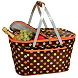 Picnic at Ascot Large Family Size Insulated Folding Collapsible Picnic Basket Cooler with Sewn in Frame - Julia Dot
