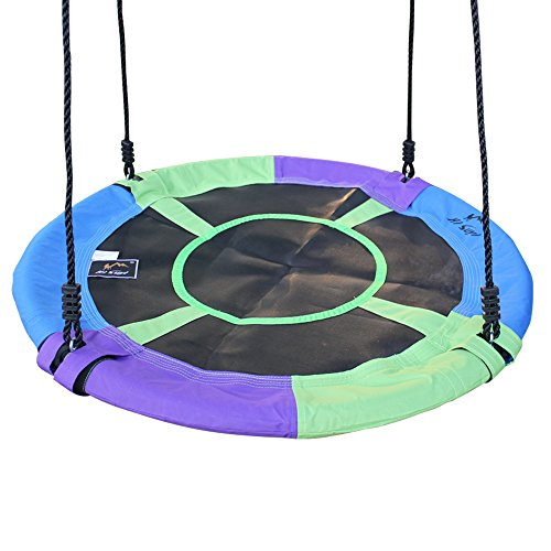 Hi Suyi 100cm/40 Disc Giant Nest Web Rope Hanging Tree Swing Seat Set Heavy Duty Easy to Set Up for Kids Children Adult Outdoor Backyard Garden Large Size