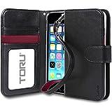 iPhone 5 Case, TORU [Prestizio Wallet] iPhone SE Wallet Case with [CARD SLOT][ID HOLDER][KICKSTAND][WRIST STRAP] - Premium Wristlet Leather Flip Cover Case for Apple iPhone 5/5S/SE - Mint