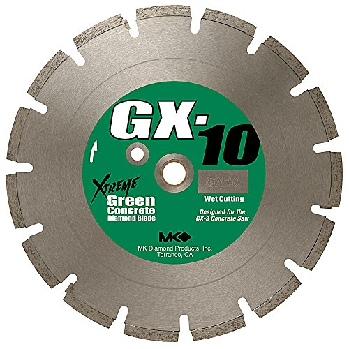 MK Diamond 159620 MK-GX-10 14-Inch Wet Cutting Segmented Saw Blade with 1-Inch Arbor for Green Concrete Green Concrete Segmented Diamond