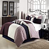 Chic Home 8-Piece Zinfandel Comforter Set, Queen, Plum