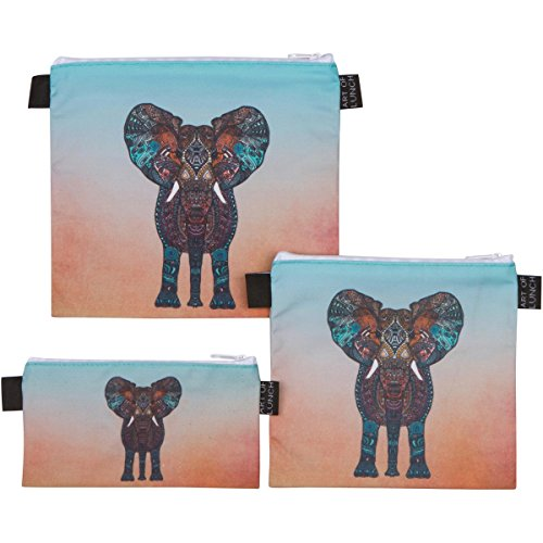 Art of Lunch Designer Lunch Baggies for Men & Women, Boys & Girls, Fashionable, Reusable, Snack & Sandwich Bags w Zipper - Design by Monika Strigel (Germany) - Elephant