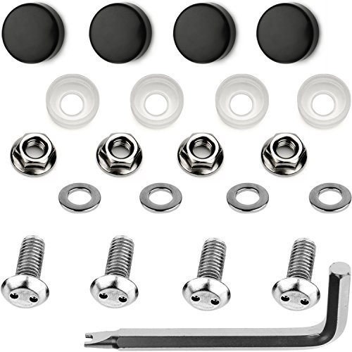 LFPartS Stainless Steel Rust Resistant Motorcycle License Plate Frame Security Anti-Theft Machine type Screws Fasteners M6x12mm, Chrome Caps