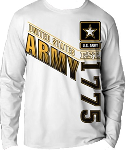 Crest White Long Sleeve (US Army Long Sleeve Water/Moisture Wicking T-Shirt, MD, Medium)