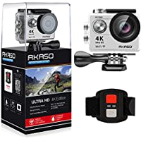 AKASO 4K Wi-Fi sports Action Camera Ultra HD Waterproof DV Camcorder 12MP 170 degree Wide Angle LCD screen/remote, Sage/Silver (EK7000SL)