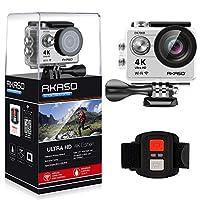 AKASO 4K Wi-Fi sports Action Camera Ultra HD Waterproof DV Camcorder 12MP 170 degree Wide Angle LCD screen/remote, Sage/Silver (EK7000SL)