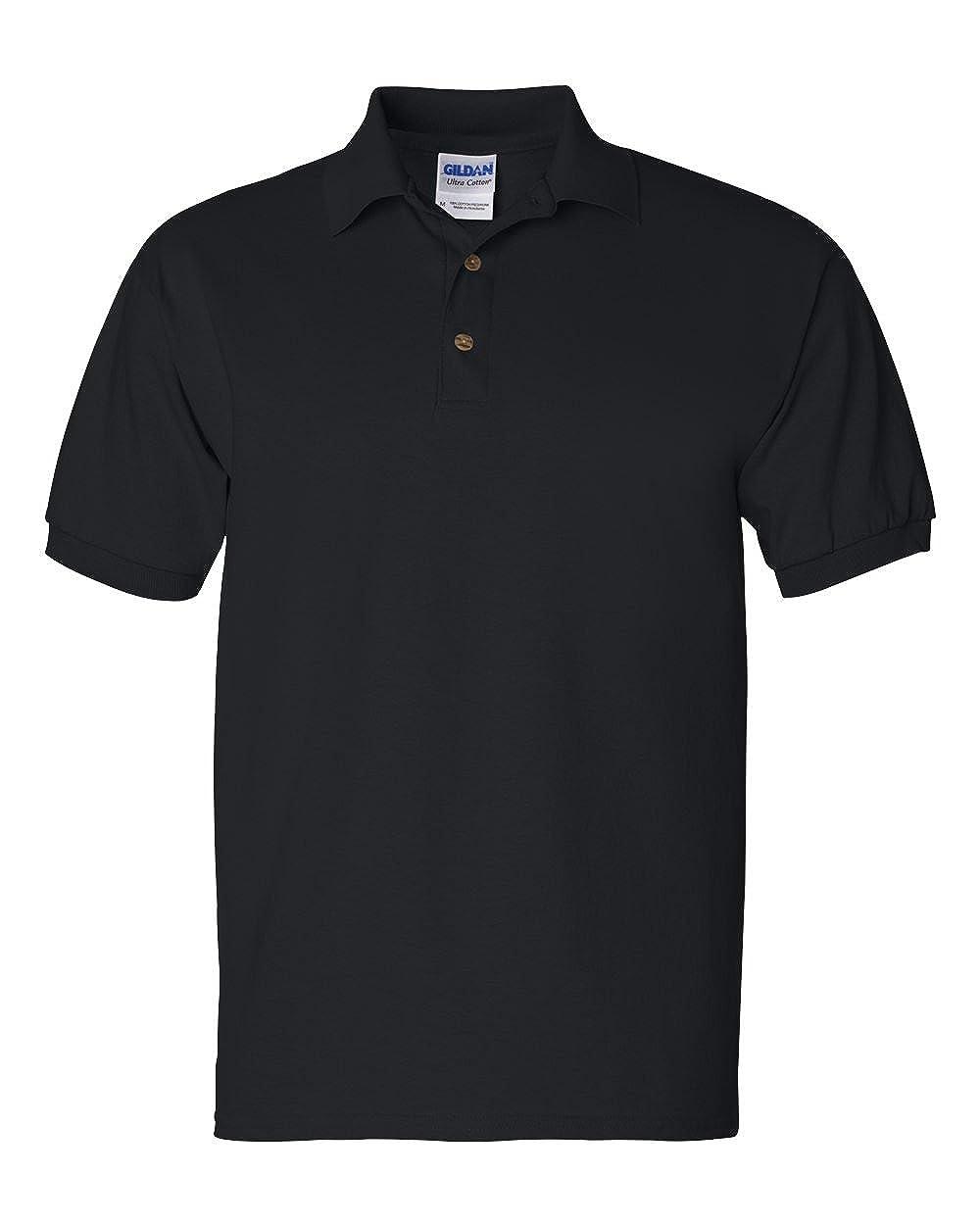 Gildan Mens Button-Down Polo Shirt