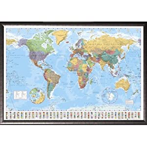 Framed GB Eye World Map 24x36 Poster in Silver Finish Wood Frame