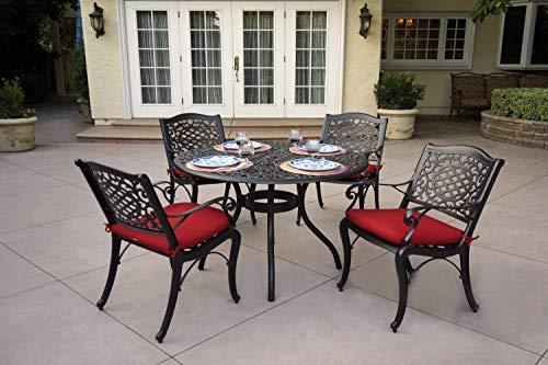 AC HOME & PATIO 15-5PC-15C Cast Aluminum 5-Piece Outdoor Door Dining Set, Dark Brown 48' Round Cast Table