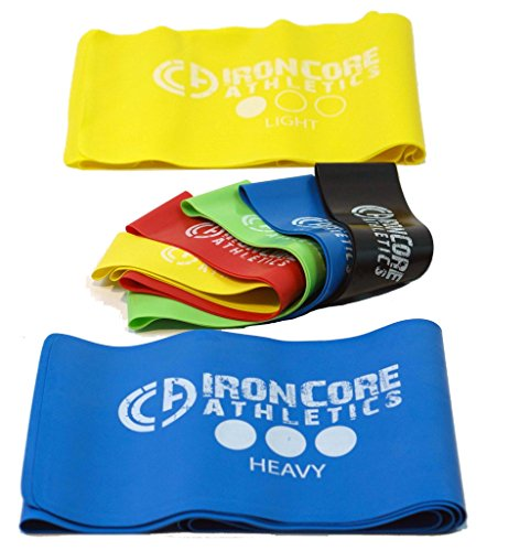 """Iron Core Athletics Loop and Flat Exercise Stretch Bands : Set of Five 10"""" Resistance Loop Bands and Two 5ft Flat Bands, Perfect for Yoga / Pilates / Physical Therapy"""