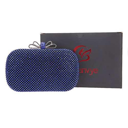 Rhinestone Blue Bags for Purse Crystal Bow Girls Evening Bonjanvye Clutch CwRX6qz