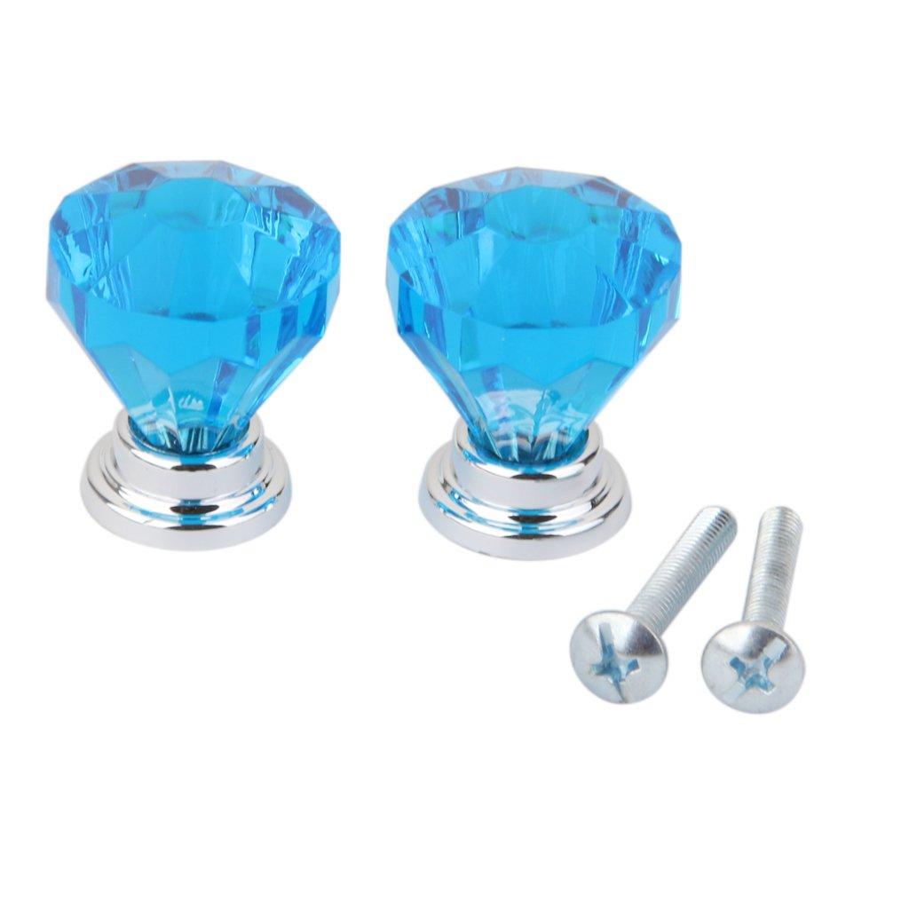 2pcs Diamond Shape Glass Cabinet Door Drawer Pull Handle Knob Blue Generic