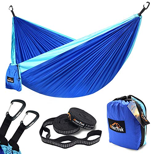AnorTrek Camping Hammock, Lightweight Portable Single & Double Hammock with Tree Straps [10 FT/18+1 Loops], Parachute Hammock for Camping, Hiking, Garden, Yard (Blue&Sky Blue, Single 55''W x ()