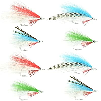 The Fly Fishing Place Lefty's Deceiver Fly Fishing Flies Collection - Assortment of 8 Saltwater and Bass Flies - Hook Size 1/0