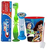 Toy Story ''Buzz Lightyear'' Inspired 4pc Bright Smile Oral Hygiene Set! Flashing Lights Toothbrush, Toothpaste, Brushing Timer & Mouthwash Rinse Cup! Plus Bonus ''Remember To Brush'' Visual Aid!