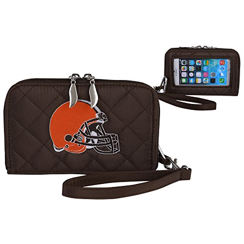 Charm14 NFL Cleveland Browns Womens Quilted Cell Phone Wallet with Embroidered Logo by Little Earth