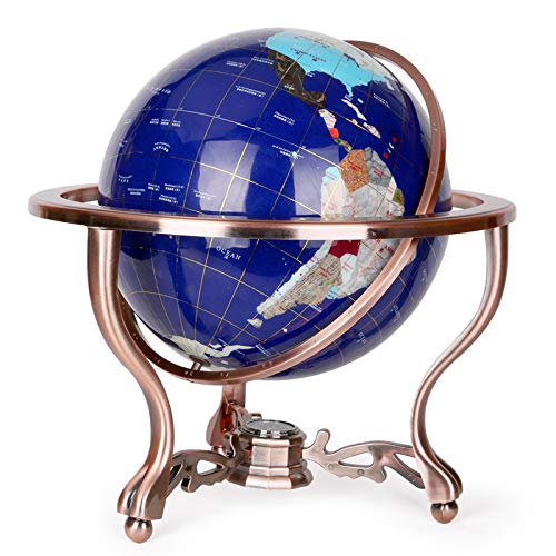 FAY 13-Inch Desktop Globe,Tall Table Top Blue Lapis Ocean Gemstone World Globe with Metal Tripod Stand for Office Study Room Decoration Crafts,Blue,15cm