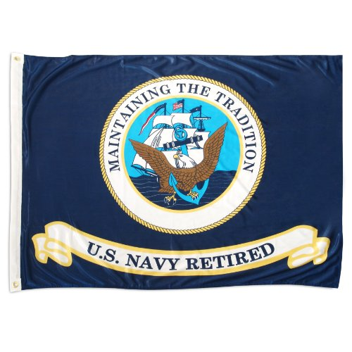 Online Stores US Navy Retired Superknit Polyester Flag, 3 by 4 Feet