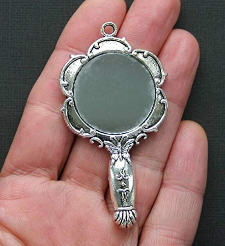 Huge Mirror Charms Antique Silver Tone Victorian Style 2 Sided Jewelry Making Supply, Pendant, Bracelet, DIY Crafting and Other by Wholesale Charms from Wholesale Charms