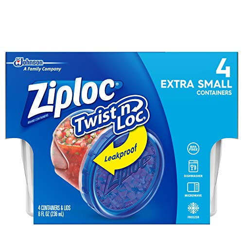 Ziploc Twist 'n Loc, Storage Containers for Food, Travel and Organization, Dishwasher Safe, Extra Small Round, 4 Count, Pack of 6 (24 Total Containers)
