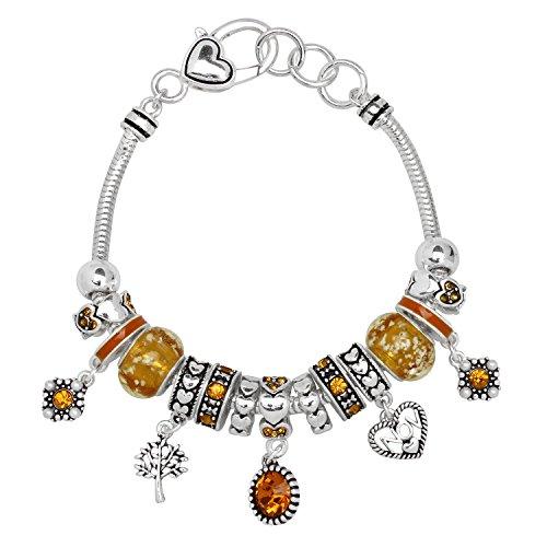 - Falari Birthstone Bracelet Multi-Color Charm Beads Silvertone November OB07234-NOV