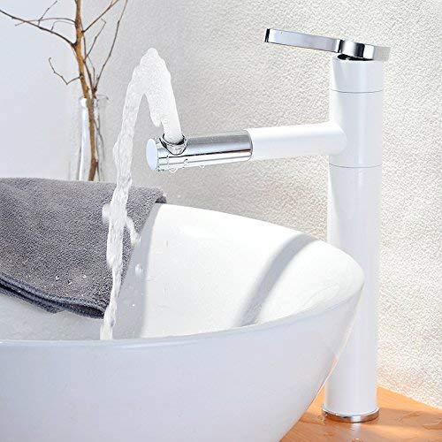 JingJingnet 洗面器ミキサータップ浴室のシンクの蛇口すべての銅引き盆地冷水蛇口を回転させて白いシングルハンドルシングルホールベーキング仕上げ蛇口 (Color : High)) B07RQRBRZT High)