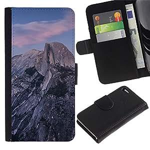 YiPhone /// Tirón de la caja Cartera de cuero con ranuras para tarjetas - Hermosa Montañas Rocosas - Apple Iphone 4 / 4S