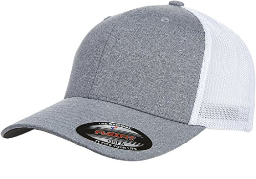 Flexfit Men's Melange Stretch Mesh Cap, Heather Grey/White, One Size