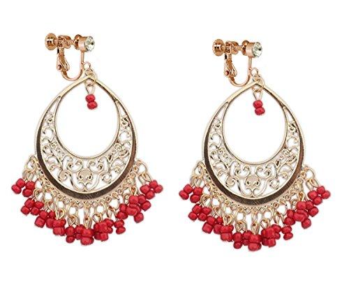 Bohemia Dangle Clip on Earring Tassel Boho Chandelier Drop Hoop Earrings Women Ladies Gold Red Beads ()