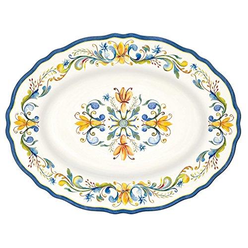 Italian Ceramic Platters - Le Cadeaux Melamine Floral Harvest - 16 Inch Platter