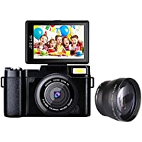 Digital Camera Camcorder Full HD 1080P Video Camera DIWUER 24.0MP 3.0 Inch LCD Mini Camcorders with Macro Lens and Flash Light