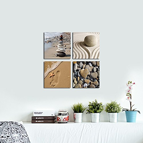 Wieco Art – Romantic Beach Theme 4 Panels Modern Giclee Artwork Sea Beach Ocean Canvas Prints Contemporary Abstract Seascape Pictures to Photo Paintings on Canvas Wall Art for Home Decorations Wall Decor, 12x12inchx4pcs, P4R1x1-02