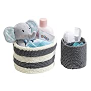 mDesign Hand Knit Round Toy Storage Organizer Basket Bins, for Stuffed Animals, Blocks, Dolls, Costumes, Folds Flat for Compact Storage – Set of 2, Large and Small Containers, Gray and Gray/White