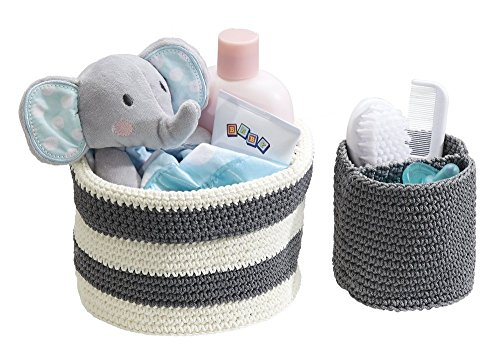 (mDesign Hand Knit Round Toy Storage Organizer Basket Bins, for Stuffed Animals, Blocks, Dolls, Costumes, Folds Flat for Compact Storage � Set of 2, Large and Small Containers, Gray and Gray/White)
