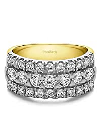 10k Twotone Gold Anniversary Ring Charles Colvard Moissanite(2Ct) Size 3 to 15 in 1/4 Size Intervals