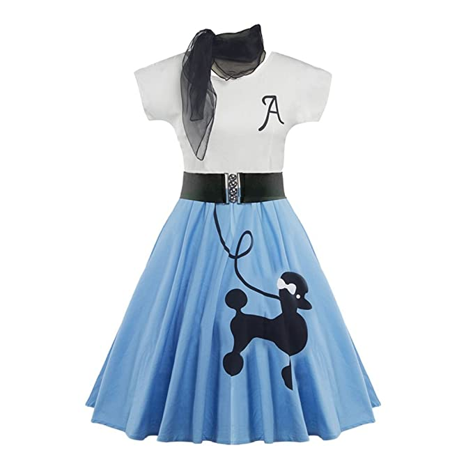 Vintage Style Children's Clothing: Girls, Boys, Baby, Toddler DressLily Retro Poodle Print High Waist Skater Vintage Rockabilly Swing Tee Cocktail Dress $24.99 AT vintagedancer.com