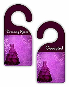 Dressing Room - Occupied - Boutique/Closet/Store Room Door Sign Hanger - Double Sided - Hard Plastic - Glossy Finish