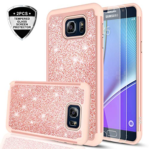 Galaxy Note 5 Case with Tempered Glass Screen Protector [2 Pack], LeYi Glitter Bling Cute Girls Women [PC Silicone Leather] Dual Layer Heavy Duty Protective Case for Samsung Galaxy Note 5 TP Rose Gold