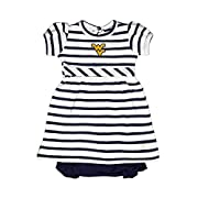 West Virginia Mountaineers NCAA College Newborn Infant Baby Striped Dress (0-3 Months)
